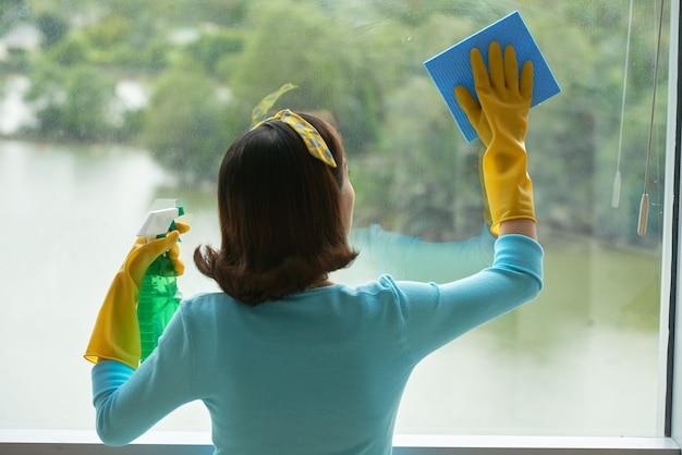Vista trasera del ama de llaves pin-up que limpia la ventana panorámica con limpiador en aerosol y esponja Foto gratis