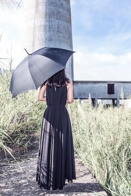 De Y Mujer Vista ParaguasDescargar Vestido Trasera Con Negro wXuTlPkOZi