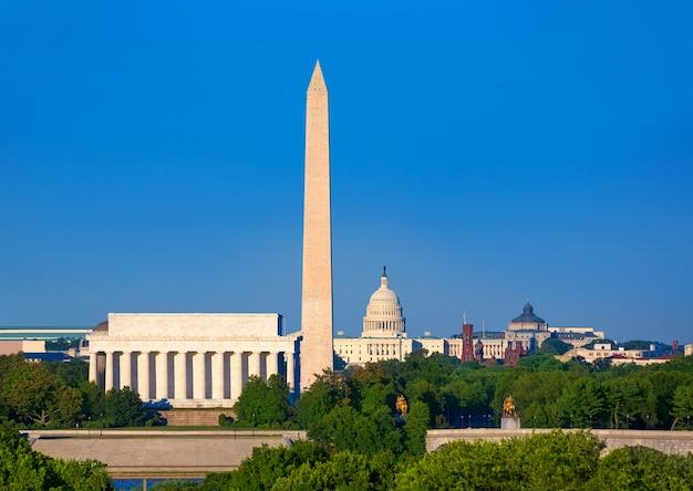 Washington monument capitol y lincoln memorial Foto Premium