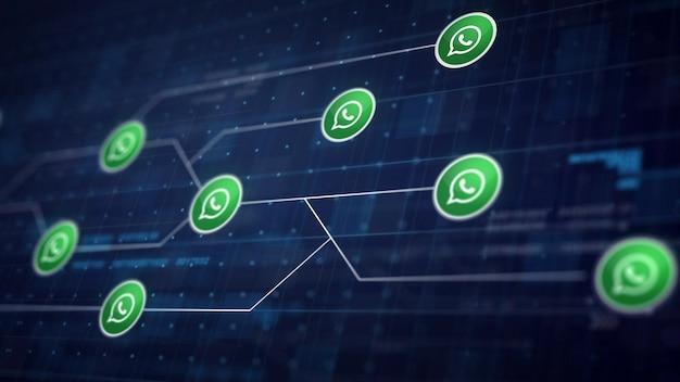 Whatsapp icon línea de conexión de la placa de circuito Foto gratis