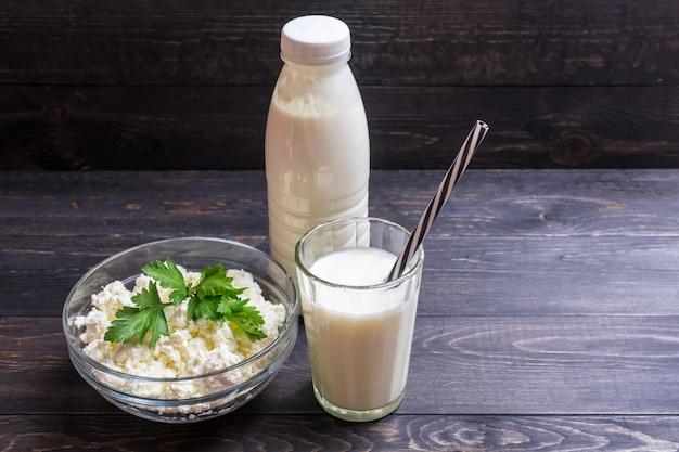Yugurt fresco casero y queso fresco Foto Premium