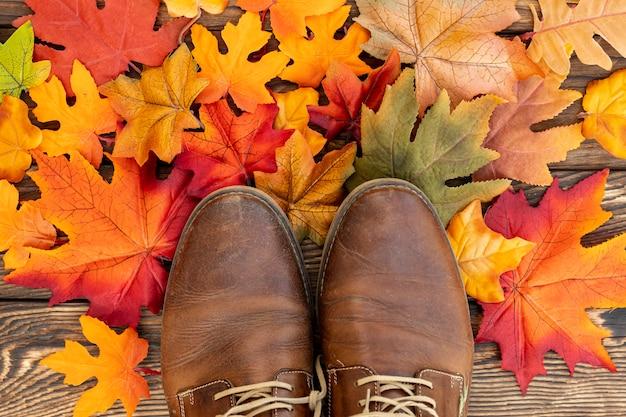 Zapatos marrones en hojas coloridas Foto gratis