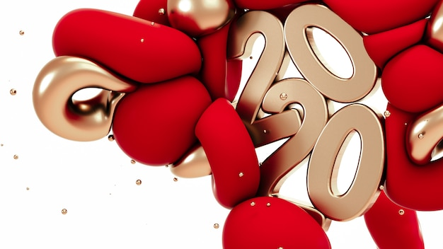 2020 nuovo anno. forme astratte in oro rosso e metallizzato Foto Premium