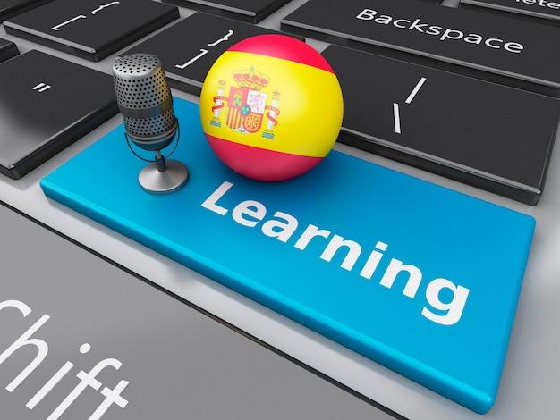 3d che impara spagnolo sulla tastiera di computer con un mic. Foto Premium