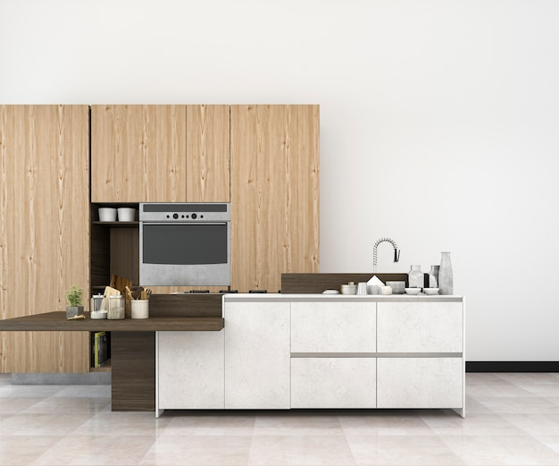 3d che rende a minimo bianco derisione sulla cucina del sottotetto con la decorazione di legno Foto Premium