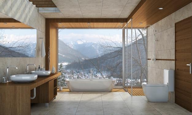 3d che rende bagno classico moderno con la decorazione delle mattonelle di lusso con la vista piacevole della natura dalla finestra Foto Premium