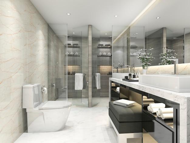 3d che rende bagno classico moderno con la decorazione delle mattonelle di lusso Foto Premium