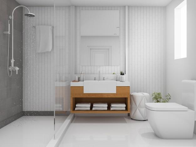 3d che rende bagno luminoso con la doccia Foto Premium