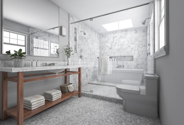 3d che rende bagno minimo moderno con la decorazione scandinava e la vista piacevole della natura dalla finestra Foto Premium