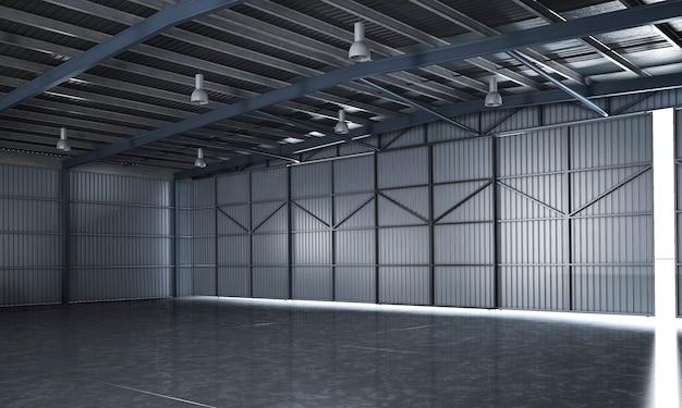 3d che rende bello magazzino industriale vuoto Foto Premium