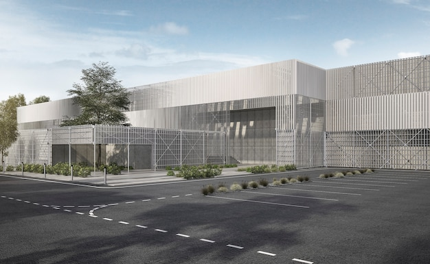 3d che rende costruzione industriale moderna bianca del metallo e del metallo con l'albero ed il cielo blu Foto Premium