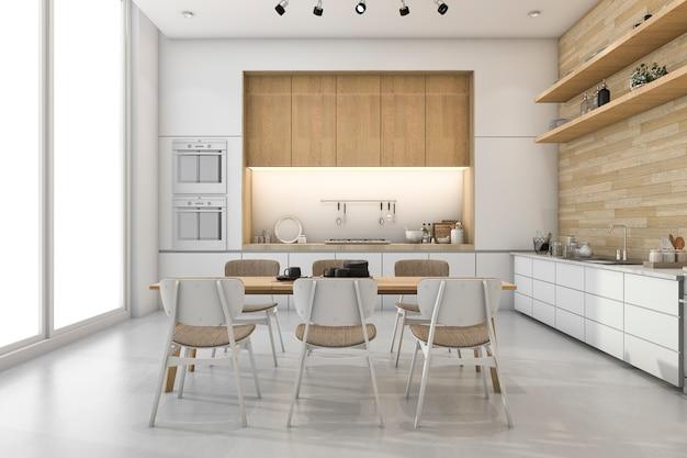 3d che rende cucina minima bianca con la decorazione di legno incorporata Foto Premium