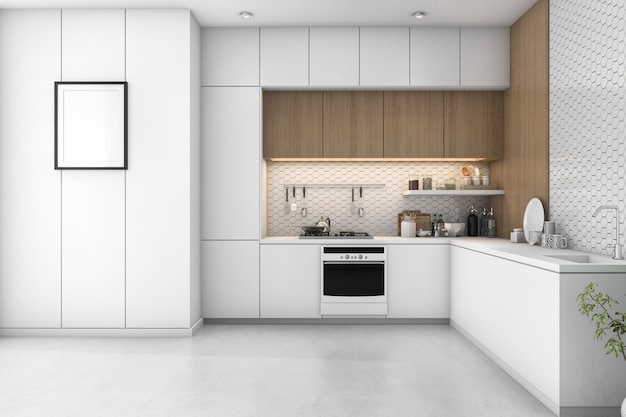 3d che rende cucina minima bianca con la decorazione di legno Foto Premium