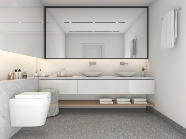 3d che rende il bagno bianco minimo moderno di stile Foto Premium