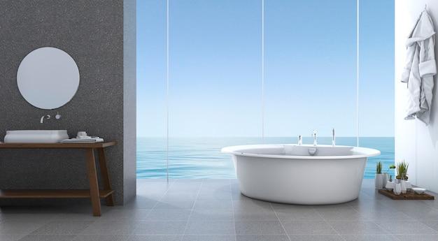 3d che rende il bagno minimo luminoso vicino alla spiaggia Foto Premium