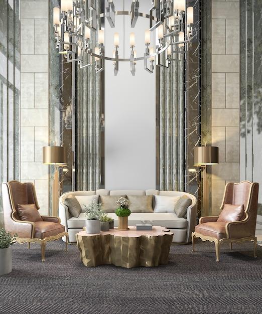 3d che rende il salone di lusso classico con il candeliere e la decorazione Foto Premium
