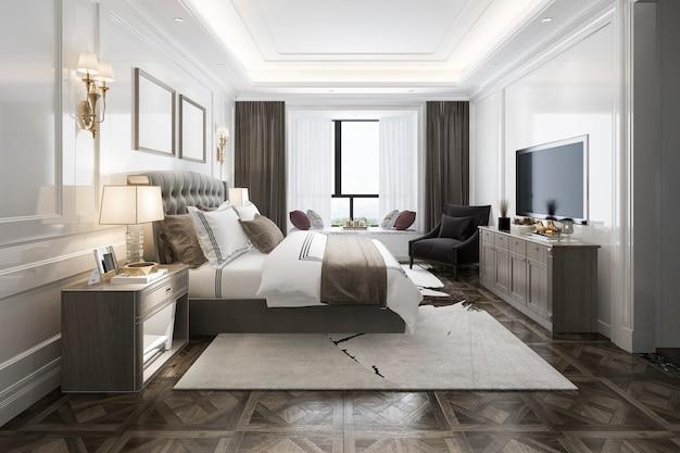 3d che rende la bella serie di camera da letto di lusso in hotel con la tv Foto Premium