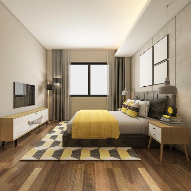 3d che rende la bella serie di camera da letto gialla di lusso in hotel con la tv Foto Premium