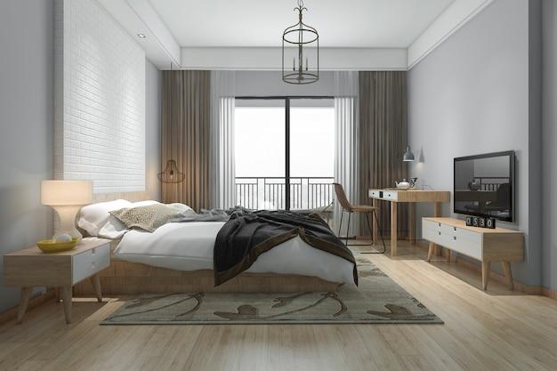 3d che rende la bella serie di camera da letto minima in hotel con la tv Foto Premium