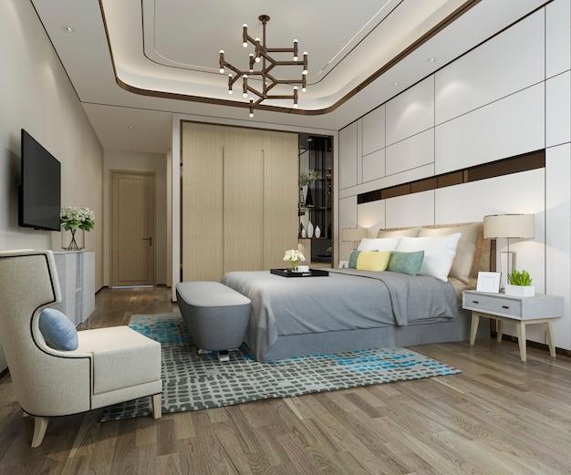 3d che rende la bella suite di lusso della camera da letto in hotel con la tv Foto Premium