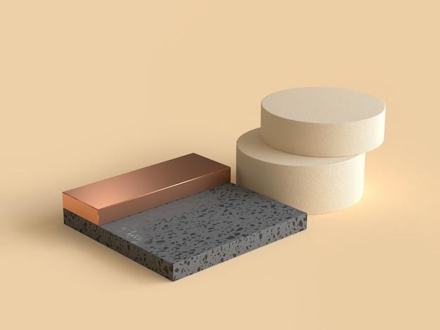 3d che rende la crema geometrica astratta di forma il nero e l'oro Foto Premium