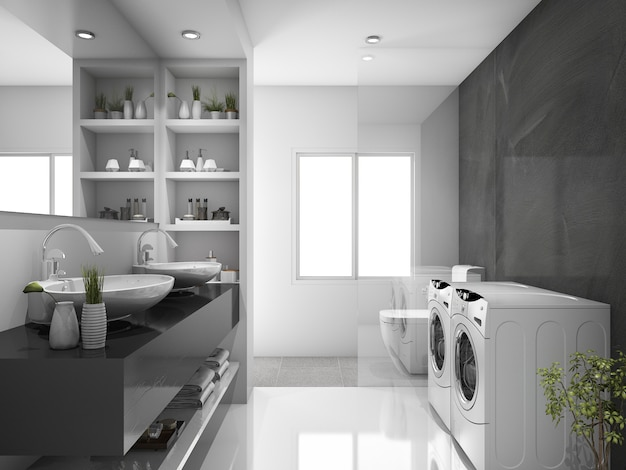 3d che rende la lavanderia e la toilette nere moderne Foto Premium