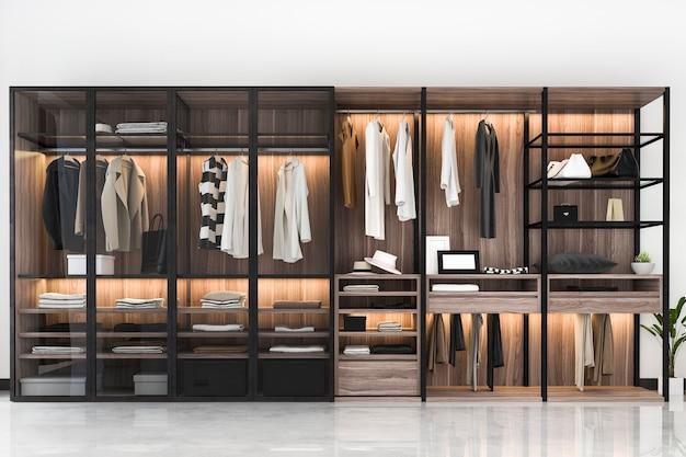 3d che rende la passeggiata di legno nera scandinava moderna nell'armadio con il guardaroba vicino alla finestra Foto Premium