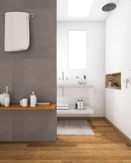 3d che rende lavandino di legno minimo in bagno Foto Premium