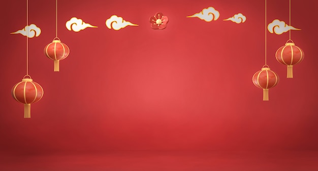 3d che rende le lanterne cinesi su fondo rosso Foto Premium