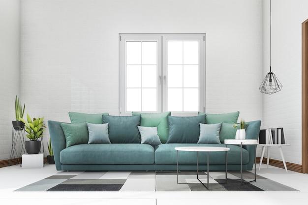 3d che rende sofà blu e verde con la pianta nel salone bianco del mattone Foto Premium