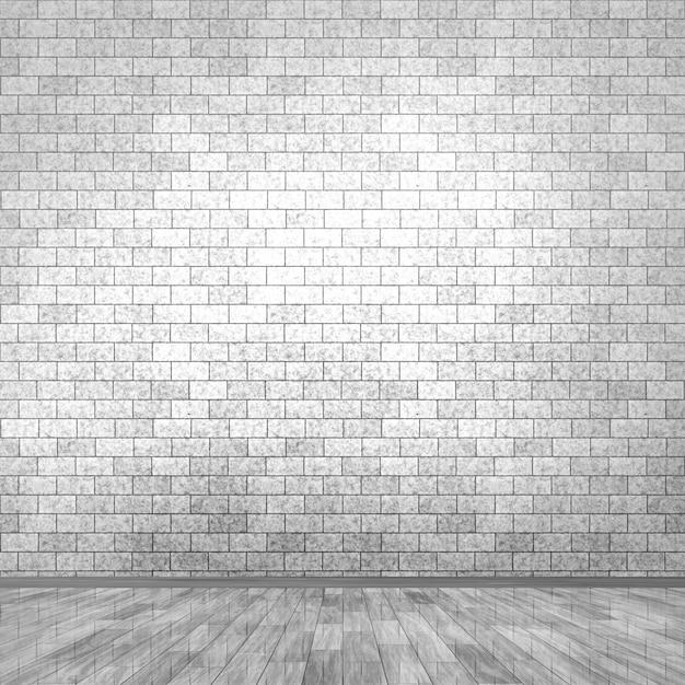 3d grunge camera interna con muro di mattoni e pavimento in legno Foto Gratuite