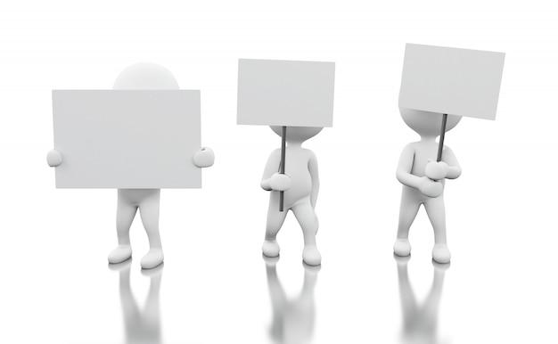3d gruppo di persone bianche che protestano. Foto Premium