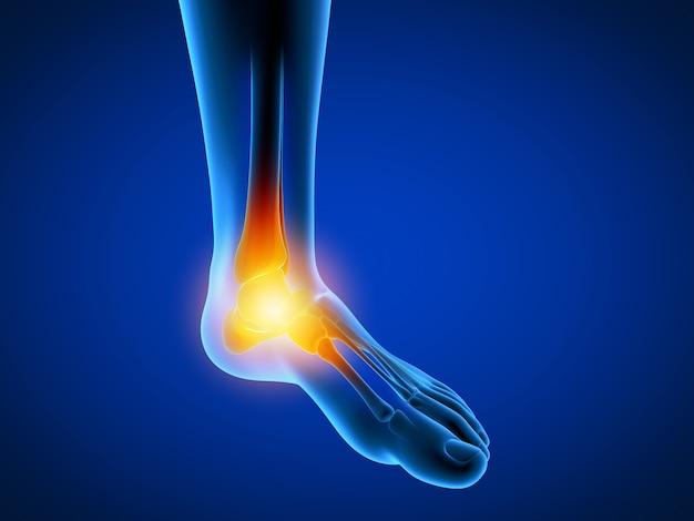 3d ha reso l'illustrazione di un uomo che ha un piede doloroso Foto Premium