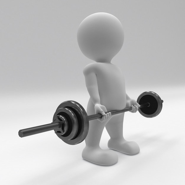 3d morph man che si esercita con i pesi della palestra Foto Gratuite