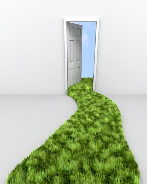 3d rendering di erba percorso che porta a porta per le nuvole Foto Gratuite