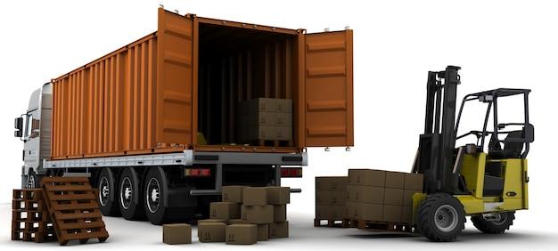 3d rendering di un container di consegna di veicoli Foto Gratuite