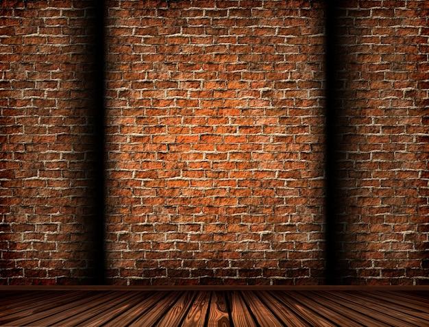 3d rendering di un interno con un muro di mattoni grunge for Rendering gratis