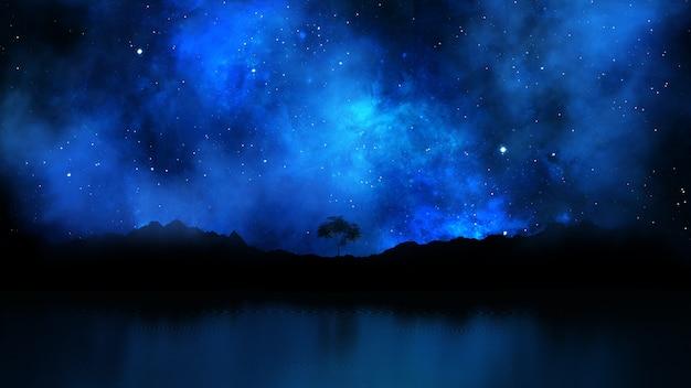 3d rendering di un paesaggio ad albero contro un cielo notturno stellato Foto Gratuite