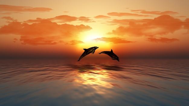 3d rendering di un tramonto su un oceano con delfini che saltano Foto Gratuite