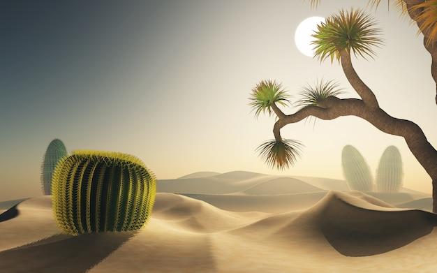 3d rendering di una scena del deserto Foto Gratuite