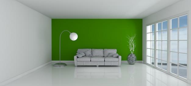 3d rendering di una stanza vuota e divano foto gratis for Rendering 3d gratis