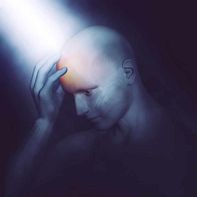 3d rendering di una testa maschio tenendo figura medica nel dolore con illuminazione drammatica Foto Gratuite