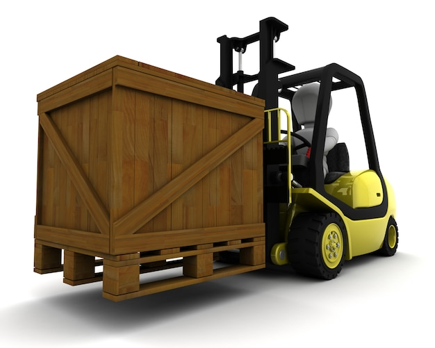 3d rendering di uomo che guida camion porta forcella for Programmi rendering 3d