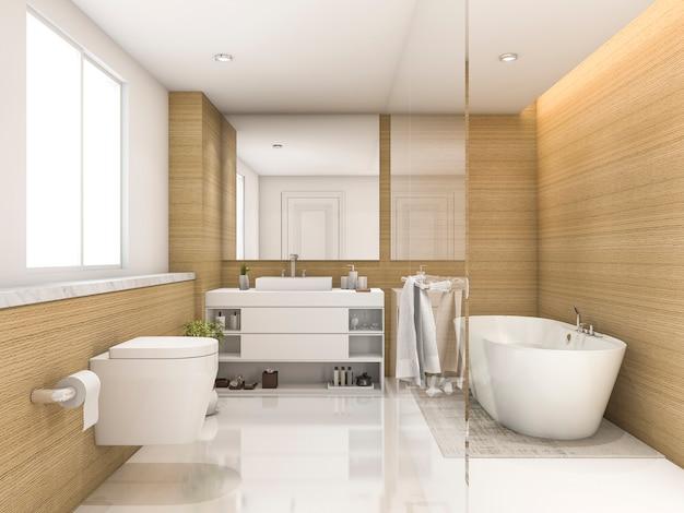 3d rendering legno di faggio e bianco bagno minimo e servizi igienici Foto Premium
