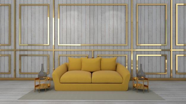 3d rendono del salone e del modello nel fondo di legno Foto Premium