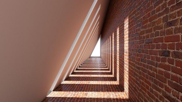 3d rendono di forma astratta del triangolo nel fondo del tunnel Foto Premium
