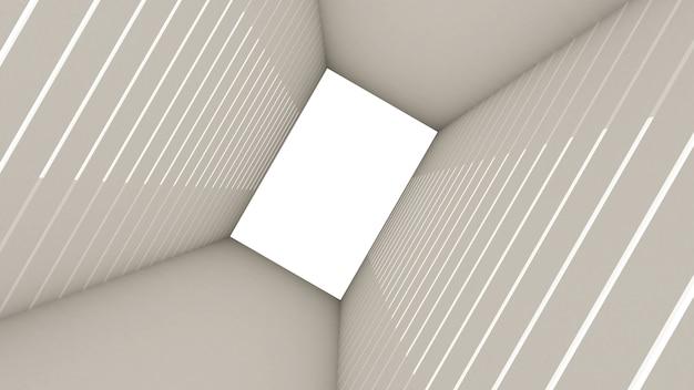 3d rendono di forma astratta di rettangolo nel fondo del tunnel Foto Premium