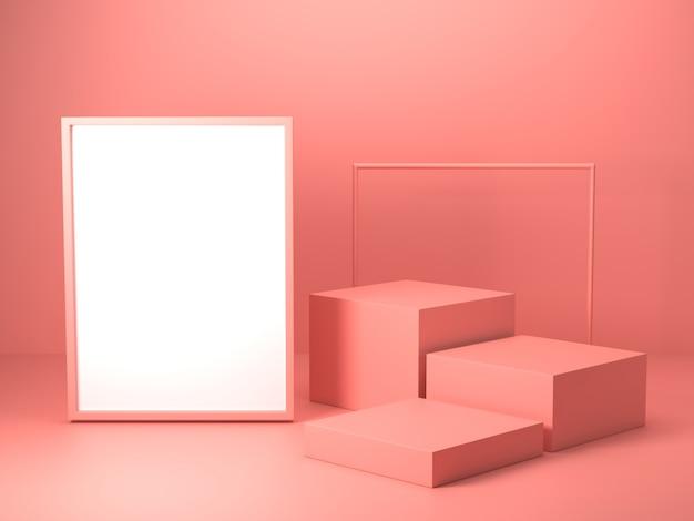 3d rendono di forma geometrica astratta di colore rosa, modello minimalista moderno per l'esposizione o la vetrina del podio Foto Premium