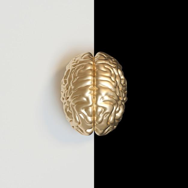 3d rendono di un cervello umano color oro Foto Premium