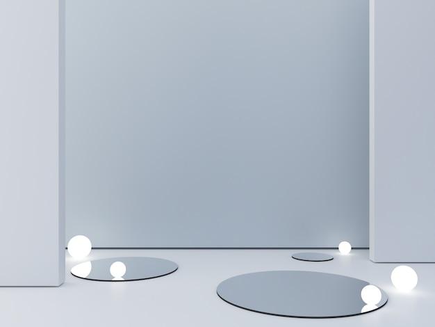 3d rendono, fondo cosmetico astratto per mostrare un prodotto. scena vuota con specchio a cilindro e luci sferiche nel pavimento. Foto Premium